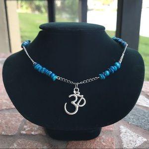 Boho necklace blue coral om sign